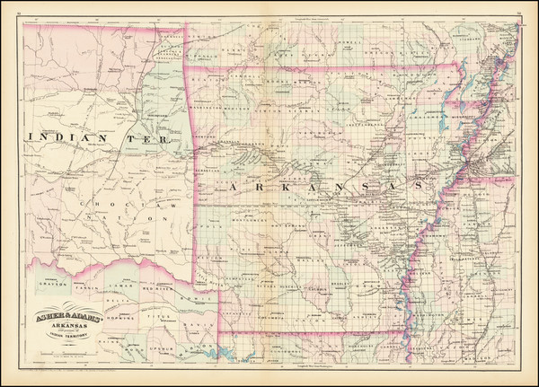 21-Arkansas and Oklahoma & Indian Territory Map By Asher / Adams