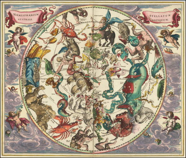 83-Celestial Maps Map By Andreas Cellarius