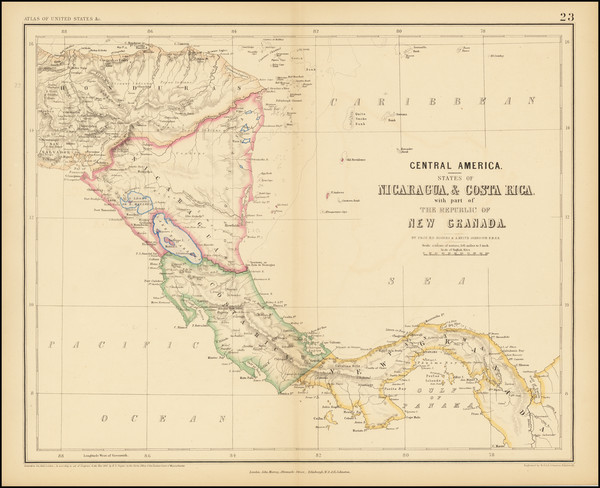 64-Central America Map By Henry Darwin Rogers  &  Alexander Keith Johnston