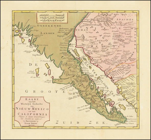 54-Mexico and Baja California Map By Isaak Tirion