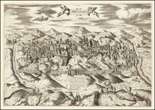 87-Holy Land Map By Claudio Duchetti / Hendrick Van Schoel