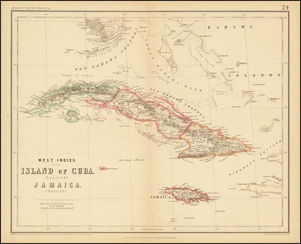 21-Florida, Cuba, Jamaica and Bahamas Map By Henry Darwin Rogers  &  Alexander Keith Johnston
