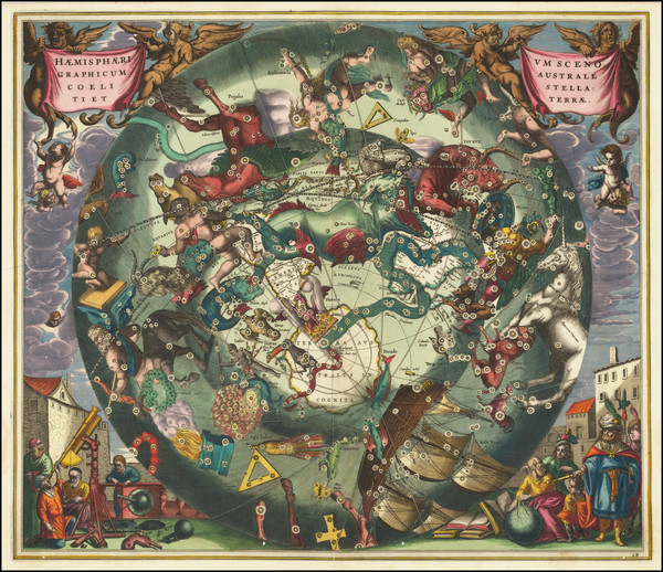 48-Eastern Hemisphere, Polar Maps and Celestial Maps Map By Andreas Cellarius