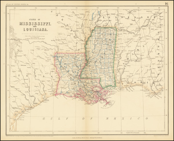 95-Louisiana and Mississippi Map By Henry Darwin Rogers  &  Alexander Keith Johnston