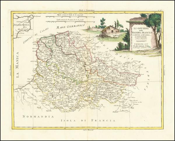 51-Belgium Map By Antonio Zatta
