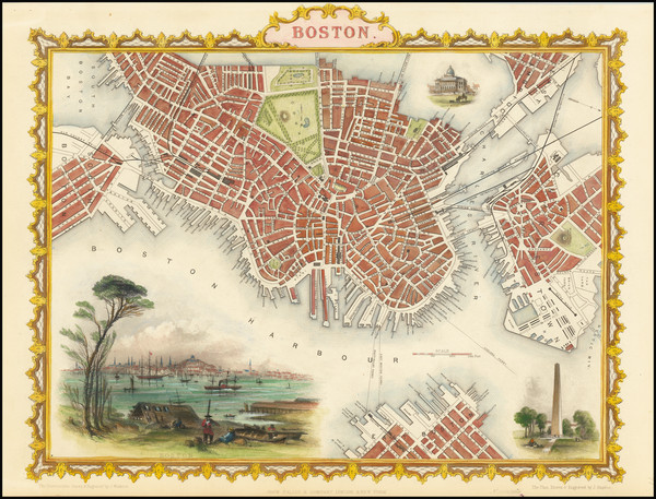 16-Massachusetts and Boston Map By John Tallis