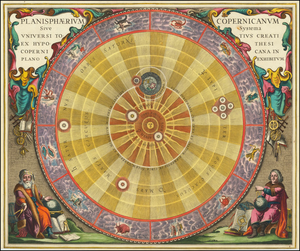 38-Celestial Maps and Fair Map By Andreas Cellarius