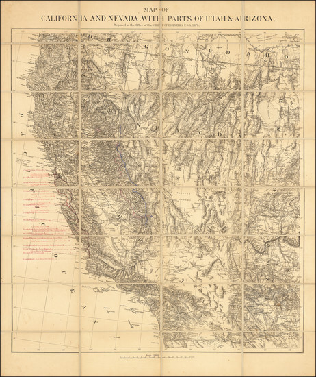 12-Arizona, Utah, Nevada, Utah and California Map By U.S. War Department