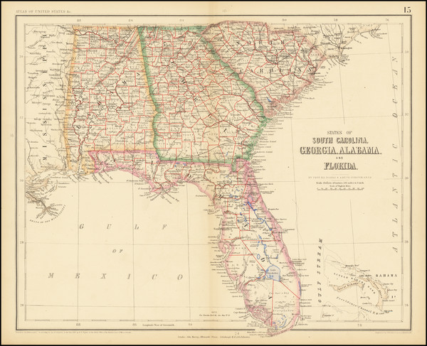 73-Florida, Alabama, Georgia and South Carolina Map By Henry Darwin Rogers  &  Alexander Keith
