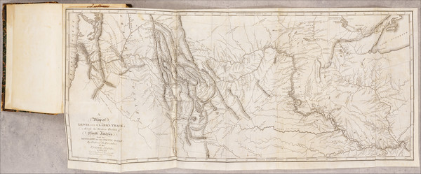 12-Rocky Mountains, Pacific Northwest and Rare Books Map By William Clark  &  Meriwether Lewis