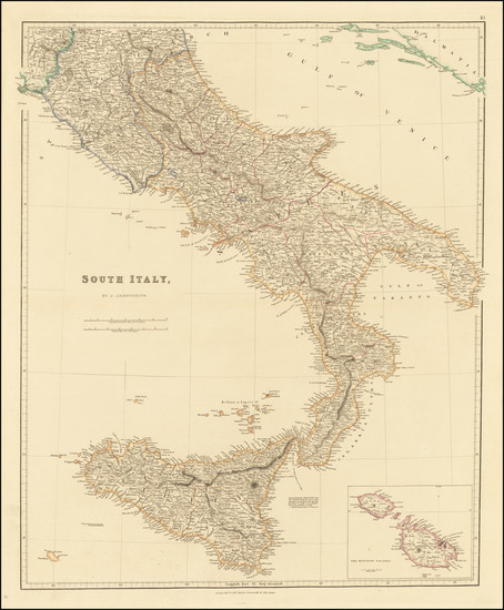 23-Southern Italy, Malta and Sicily Map By John Arrowsmith