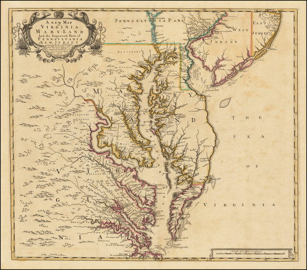 36-Mid-Atlantic, Maryland, Delaware, Southeast and Virginia Map By John Senex