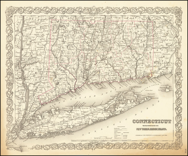 9-Connecticut Map By Joseph Hutchins Colton