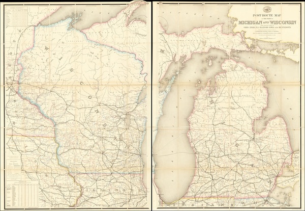 11-Michigan and Wisconsin Map By W. L. Nicholson