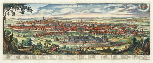 17-Paris Map By Matthaus Merian