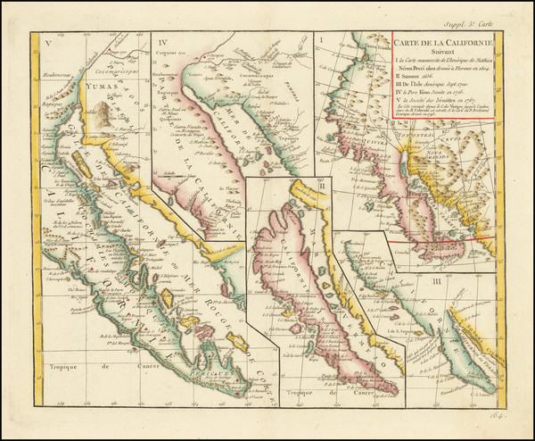 42-Baja California, California and California as an Island Map By Denis Diderot / Didier Robert de
