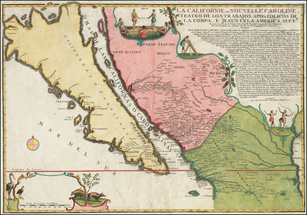 45-Southwest, Mexico, Baja California, California and California as an Island Map By Nicolas de Fe
