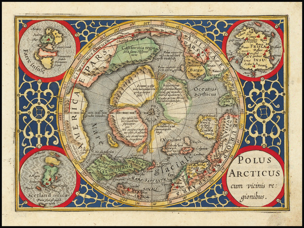 61-Polar Maps, Alaska and Iceland Map By  Gerard Mercator