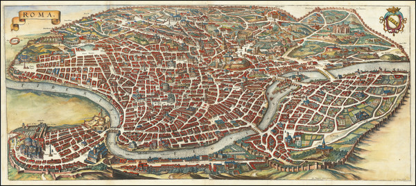 85-Italy and Rome Map By Matthaeus Merian