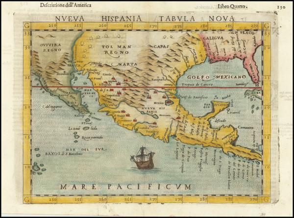 90-South, Southeast, Texas, Southwest, Rocky Mountains, Mexico and Baja California Map By Girolamo