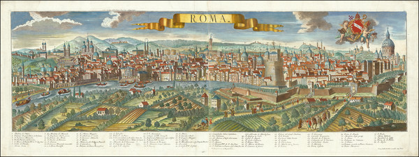 36-Rome Map By Georg Balthasar Probst