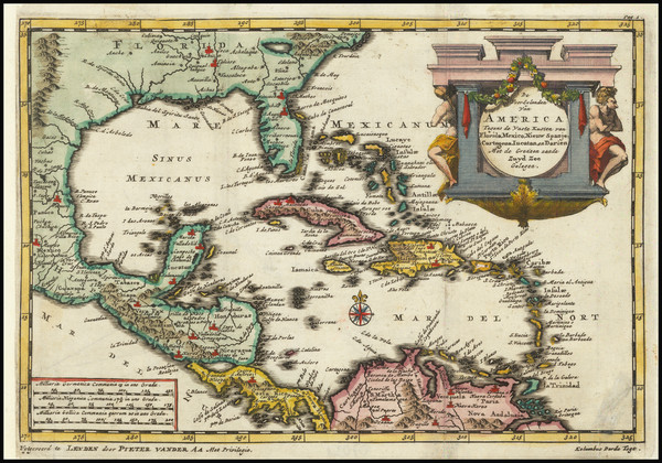73-Southeast, Caribbean and Central America Map By Pieter van der Aa