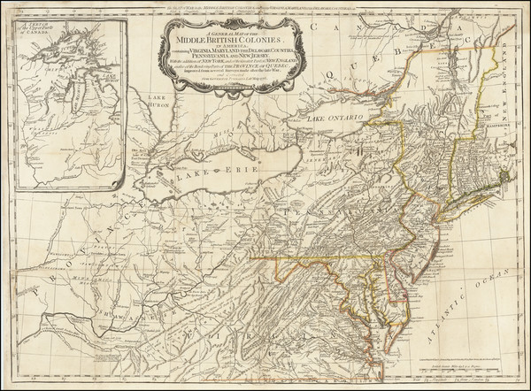 17-Southeast, Midwest, American Revolution, Canada and Eastern Canada Map By Lewis Evans / Sayer &