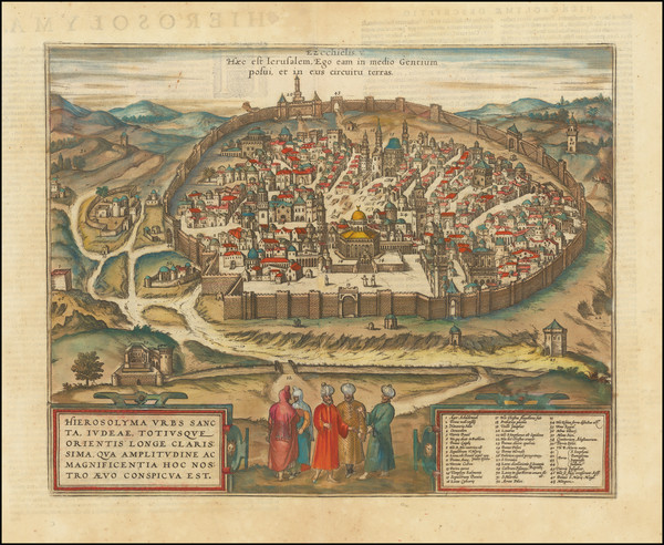 19-Holy Land and Jerusalem Map By Georg Braun  &  Frans Hogenberg