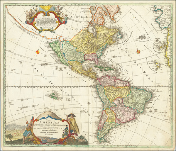 67-Western Hemisphere, California as an Island and America Map By Johann Baptist Homann