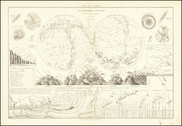 43-World, Curiosities and Celestial Maps Map By Drioux et Leroy