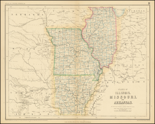 26-Arkansas, Midwest, Illinois and Missouri Map By Henry Darwin Rogers  &  Alexander Keith Joh