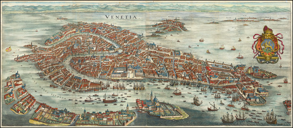54-Italy and Venice Map By Matthaus Merian