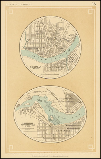 66-Kentucky, Indiana and Ohio Map By Henry Darwin Rogers  &  Alexander Keith Johnston