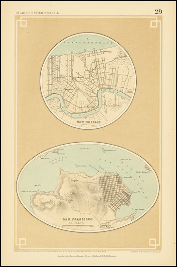 45-San Francisco & Bay Area and New Orleans Map By Henry Darwin Rogers  &  Alexander Keith