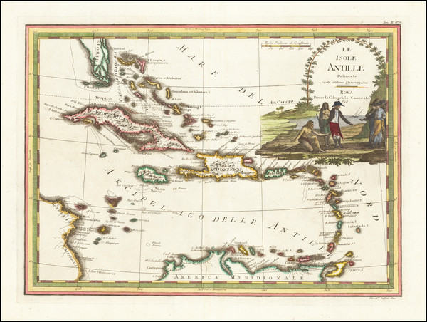 97-Florida and Caribbean Map By Giovanni Maria Cassini