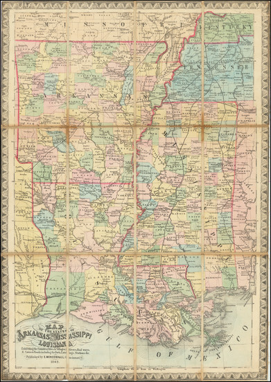 64-South, Louisiana, Mississippi, Arkansas and Civil War Map By Edward Mendenhall