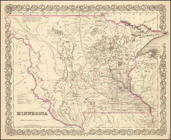 58-Midwest, Minnesota, Plains, North Dakota and South Dakota Map By Joseph Hutchins Colton