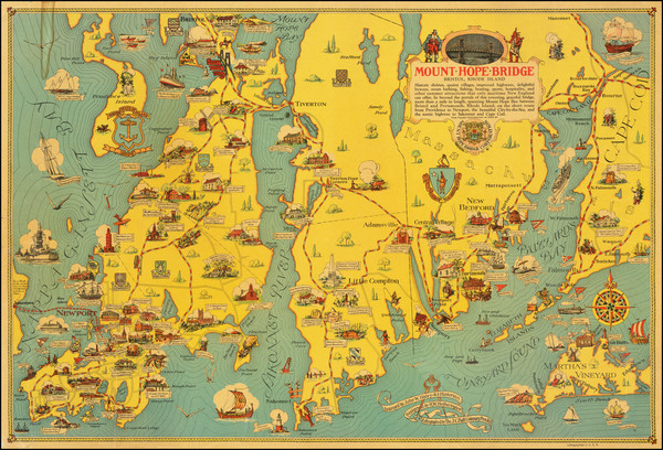 49-Massachusetts, Rhode Island and Pictorial Maps Map By H.W. Hetherington