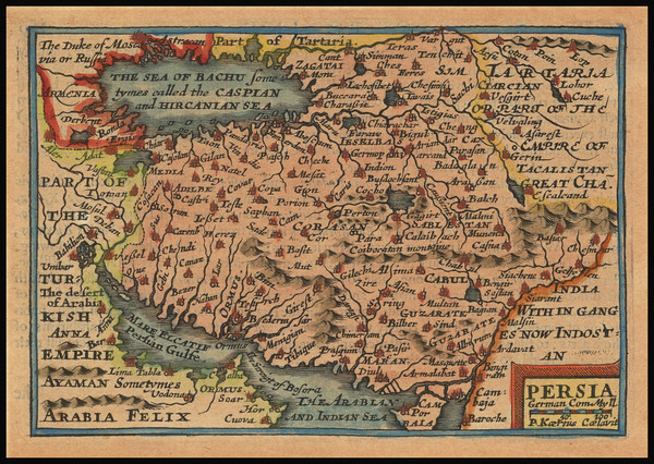55-Central Asia & Caucasus, Middle East and Persia Map By John Speed / Pieter van den Keere