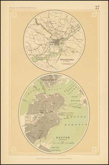 65-Philadelphia and Boston Map By Henry Darwin Rogers  &  Alexander Keith Johnston