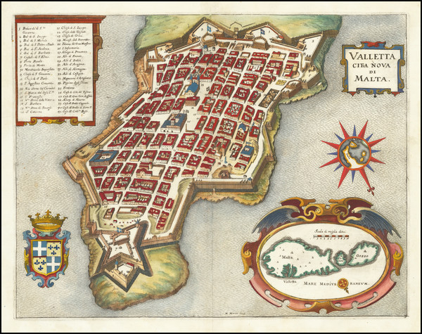 83-Malta Map By Matthaus Merian