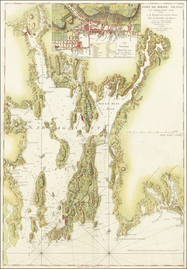92-Rhode Island and American Revolution Map By George Louis Le Rouge
