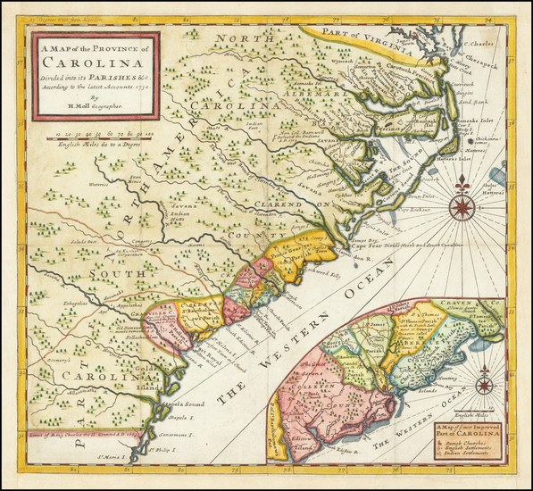 62-Southeast, North Carolina and South Carolina Map By Herman Moll