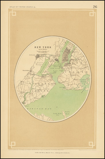 54-New York City Map By Henry Darwin Rogers  &  Alexander Keith Johnston