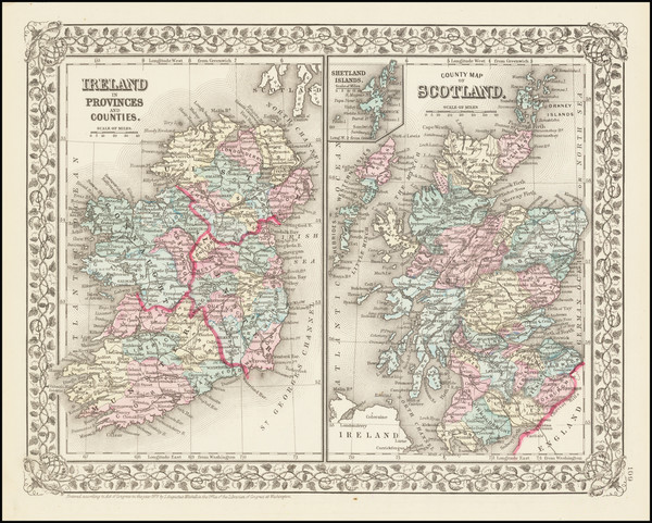9-Scotland and Ireland Map By Samuel Augustus Mitchell Jr.