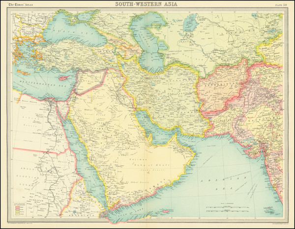 56-Central Asia & Caucasus, Middle East, Arabian Peninsula and Persia Map By Times Atlas