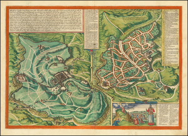 4-Holy Land and Jerusalem Map By Georg Braun  &  Frans Hogenberg