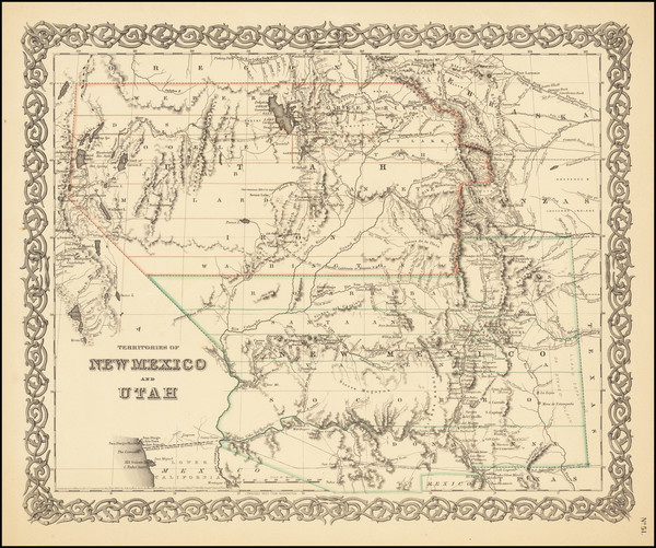 4-Arizona, Colorado, Utah, Nevada, New Mexico, Colorado and Utah Map By Joseph Hutchins Colton