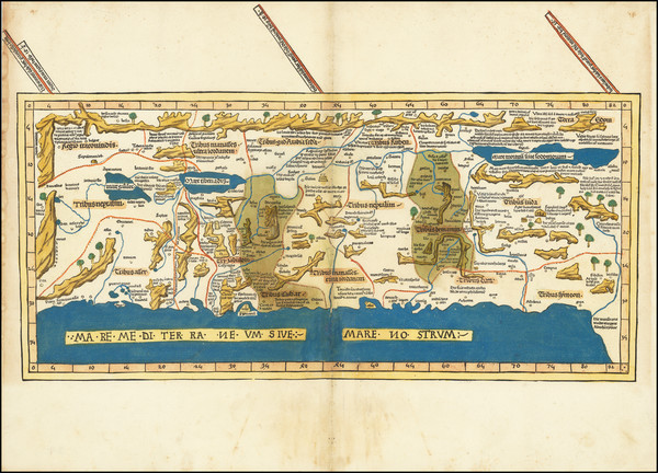 19-Middle East and Holy Land Map By Lienhart Holle / Pietro Vesconte / Marino Sanuto