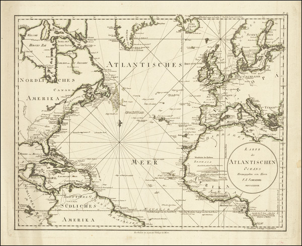 74-Atlantic Ocean and United States Map By Franz Anton Schraembl